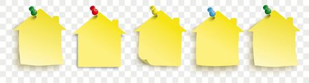 Yellow paper houses stickers on the checked background. Eps 10 vector file.