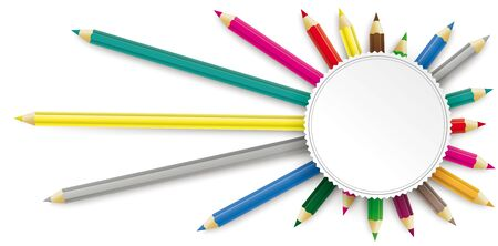 Colored pencils with round emblem on the white background. Eps 10 vector file. Çizim