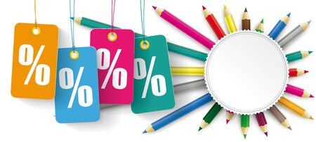 Sale banner with price stickers, pencils and a paper emblem. Eps 10 vector file.