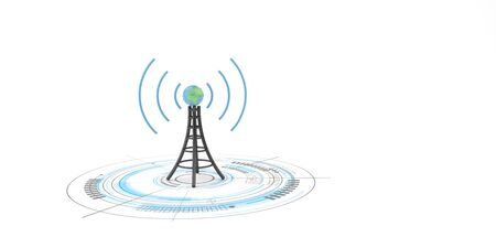 Antenna with globe on the white background. 3d illustration. Banco de Imagens