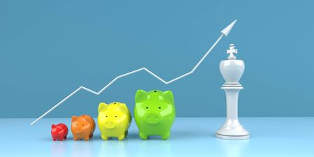 Successful strategy in investing money visualized with piggy banks. 3d illustration. 版權商用圖片 - 135473185