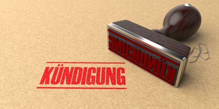 German text Kuendigung, translate Dismissal. 3d illustration.