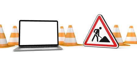 Under construction banner with traffic cones, notebook and road sign. 3d illustration. Stock Photo