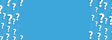 Blue background with white question marks.  vector file.
