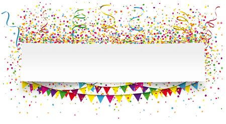 White paper banner with festoons and colored confetti.