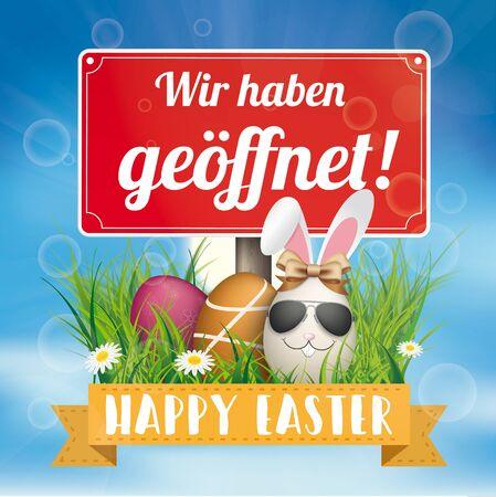"German text ""wir haben geoeffnet"", translate ""we're open"". Ilustracje wektorowe"