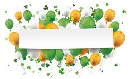 Banner with colored ballons and green shamrocks for St. Patrick's Day. Eps 10 vector file.