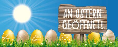 German text An Ostern geoeffnet, translate Open During Easter. Eps 10 vector file.