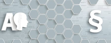 Hexagon structure with human head AI and paragraph on the gray and blue background. Eps 10 vector file. Illustration
