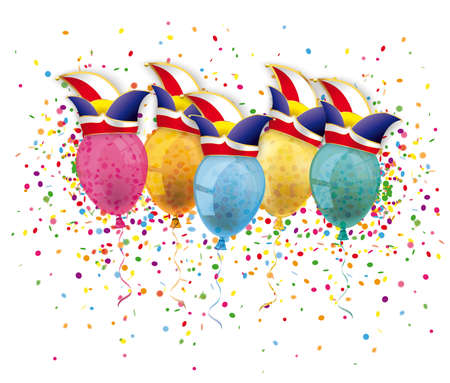 Carnival cover with confetti balloons and jesters caps. Eps 10 vector file.
