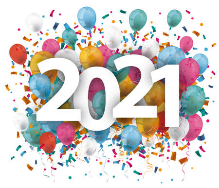 2021 with colored confetti on the white background. Eps 10 vector file.