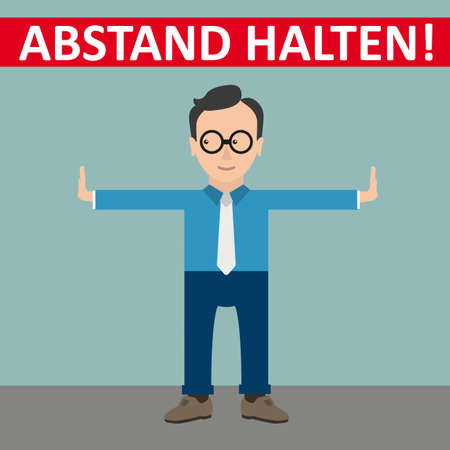 German text Abstand Halten, translate Keep Distance. Eps 10 vector file.