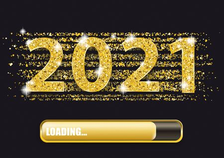 Confettis dorés avec le texte 2021 et barre de progression du chargement. Fichier vectoriel EPS 10. Vecteurs