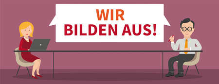 "German text ""Wir Bilden Aus"", translate ""We train apprentices"". Eps 10 vector file."