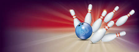 Purple bowling banner with blue ball, the number 40zh and white pins. Eps 10 vector file.