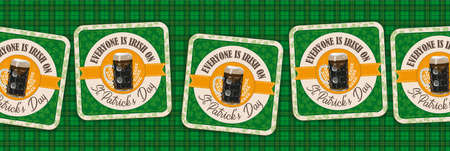 Bear coasters with the text Everyone Is Irish On St. Patrick's  Day. Eps 10 vector file.