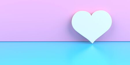 White heart on the pink and blue background. 3d illustration.