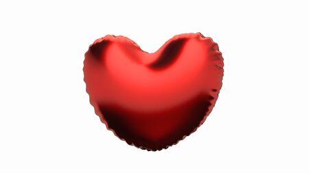 Flying red heart balloon on the white. 3d illustration.