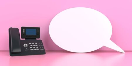 Business phone with a speech bubble on the pink background. 3d illustration.