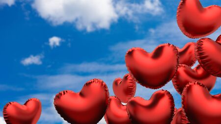 Flying red hearts balloons on the blue sky. 3d illustration.