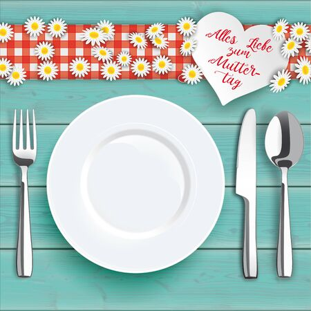 German text Alles Liebe zum Muttertag, translate Happy Mothers Day. vector file.