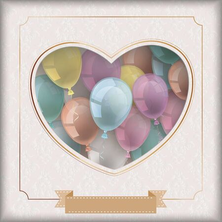 Vintage cover with noble ornaments, golden ribbon, balloons, frame and heart hole. vector file.