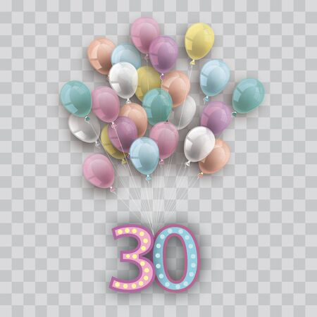 Colored and transparent balloons with the number 30 on the checked background. Eps 10 vector file.