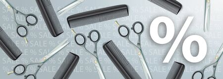 Gray sale header with white percent and hairdresser tools. Eps 10 vector file.