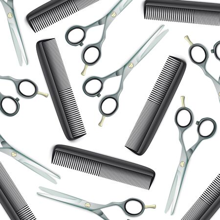 White cover with scissors, comb on the white background. Eps 10 vector file.