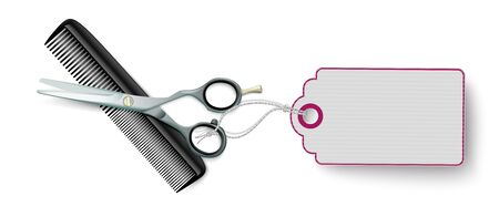 Scissors and comb with purple price sticker on the white. Eps 10 vector file.