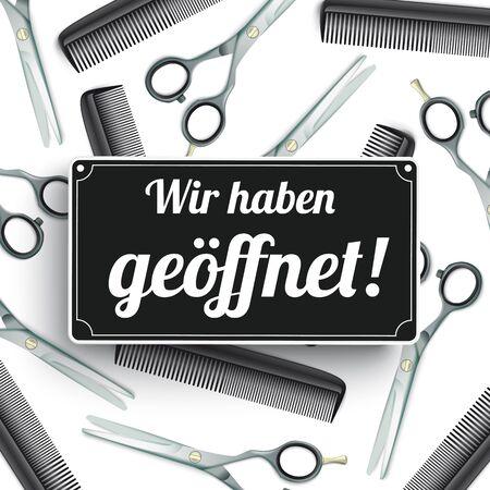 German text Wir haben geoeffnet, translate We're open. vector file. Ilustracje wektorowe