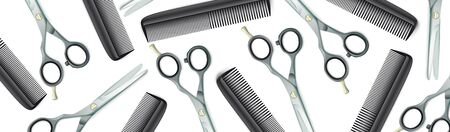 Banner with hairdresser tools on the white background. Eps 10 vector file.