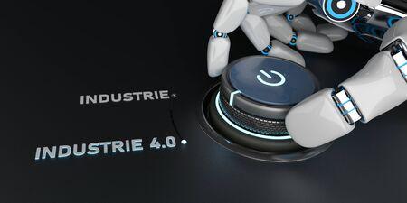 German text Industrie 4.0, translate Industry 4.0. 3d illustration. 写真素材