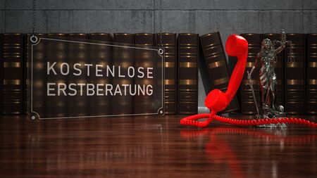 German text Kostenlose Erstberatung, translate Free initial consultation. 3d illustration.