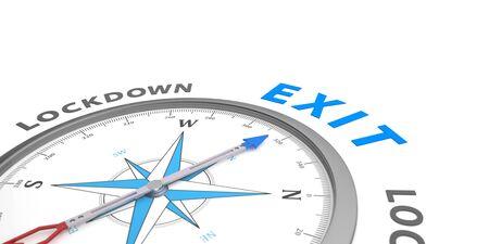 Exit orientation from the lockdown. 3d illustration. Stockfoto