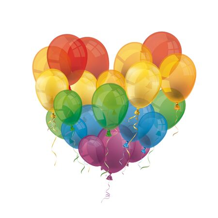 Heart of the rainbow colored balloons on the white. vector file. Çizim