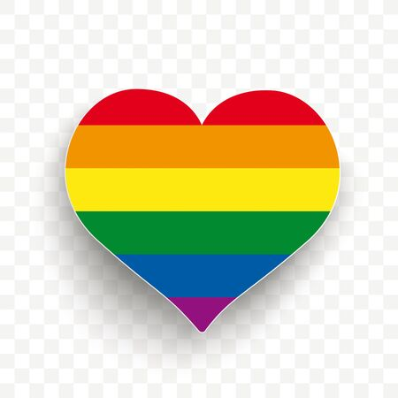 Rainbow heart with shadow on the checked background. vector file. Çizim