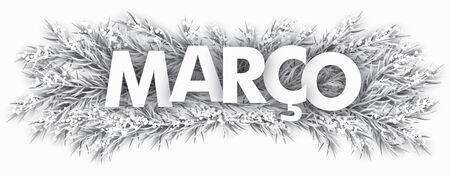 Portuguese word Marco, translated March. vector file. Vettoriali