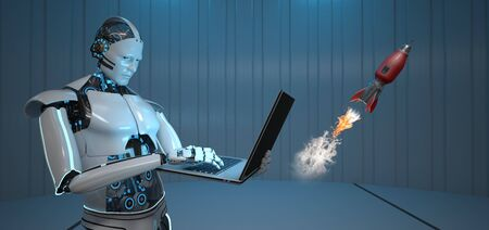 Humanoid robot with a notebook and starting rocket. 3d illustration.