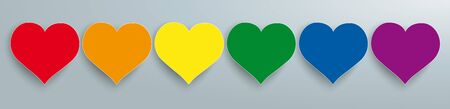 Rainbow colored hearts on the gray background. vector file.