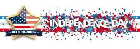 White independence day background design with US-Flag golden star. vector file.  イラスト・ベクター素材