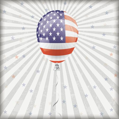 Retro flyer with a US-Flag colored balloon. vector file.