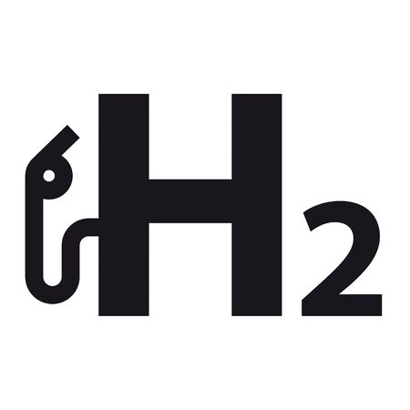 Black H2 gas pump icon on the white background. vector file.  イラスト・ベクター素材