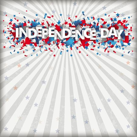 Independence day retro flyer with confetti, stripes and stars. vector file.  イラスト・ベクター素材