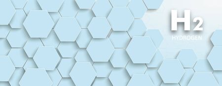 Hexagon structure with the text H2 Hydrogen on the blue background. vector file.  イラスト・ベクター素材