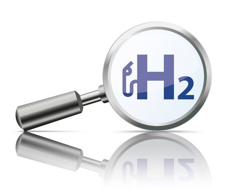 Loupe with reflection with the symbol of H2 Gas Pump on the white background. Eps 10 vector file.