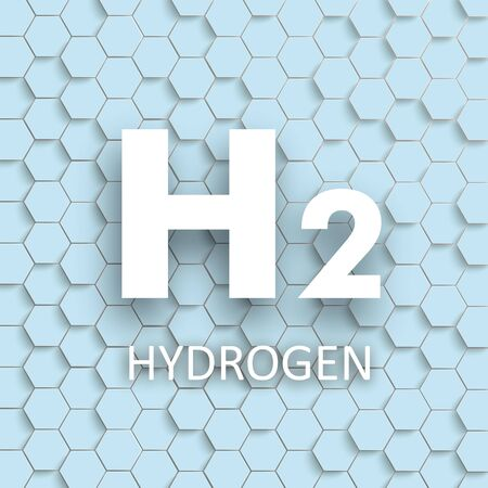 Cover with honeycomb structure and white text H2 Hydrogen. vector file.