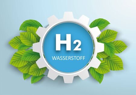German text Wasserstoff, translate Hydrogen. vector file.