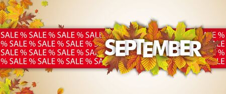 September sale background header with autumn foliage. vector file.