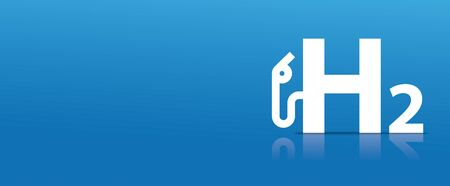 White H2 gas pump icon on the blue background. vector file.